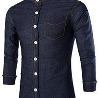 jeansian Men's Casual Slim Long Sleeves Denim Dress Shirts Tops 8744