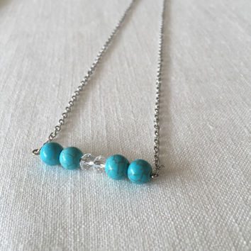 Turquoise Bar Necklace - Beaded Bar Necklace - Bar Necklace - Turquoise Howlite Bar Necklace - Blue Howlite Necklace - Gift Idea