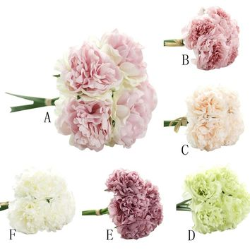 Artificial Home Silk Fake Flowers Peony Floral Wedding Bouquet Bridal Hydrangea Decor