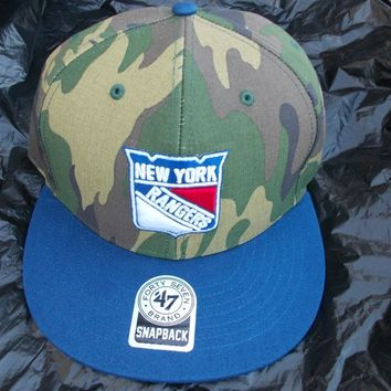 NEW YORK RANGERS BLUE SNAP BACK BASEBALL CAP 47 BRAND Camouflage SNAP BACK CAP