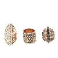 Gold Baroque Statement Rings - 3 Pack by Charlotte Russe
