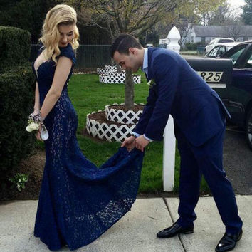 Sweep Train Navy Blue Lace Mermaid Prom Dress 2016 Vestidos Deep V Neck Backless Formal Evening Gowns New Custom Made