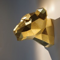 Wooden leopard head, precious 23.75 karat gold-plated