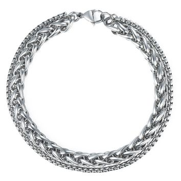 Trendsmax 8mm Mens Stainless Steel Wheat Chain Silver Tone Box Chain Double Bracelet 8-10inch