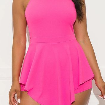 Getting in Trouble Romper Pink