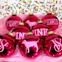 Hot Pink Victoria Secret VS Pink 8PC Glass Ornament Set