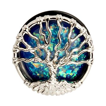 Tree of Life Opal Stainless Steel Plugs Tunnels Gauges 1 Pair Size 10-25mm