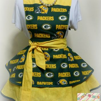 Green Bay Packers Womens Apron, Womens Flirty, Hostess Football Apron, Gifts for Her