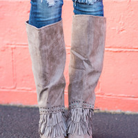 Legendary Diamond & Fringe Tall Boots-Taupe