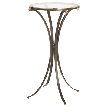 Ram Ring Small Textured Iron & Brass Round Accent Table by Global Views