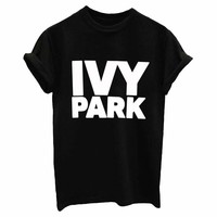IVY PARK Letters Print Women tshirt Cotton Casual Funny t shirts For Lady Top Tee Hipster Drop Ship Tumblr SB04