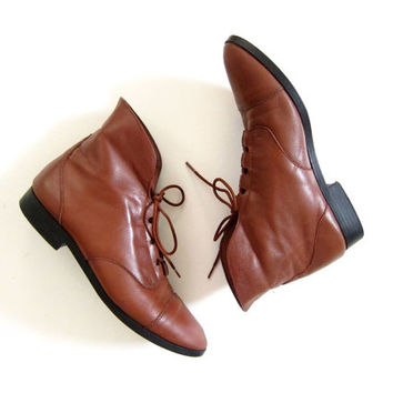 Vintage brown leather ankle boots 80s PIPPI Fold over boots Lace up boots granny boots boho leather boots women's shoes size 8 DELLS