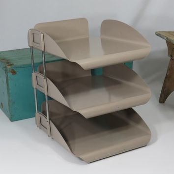 Metal Industrial Desk File Tan Organizer Three Tier Stack-able Old Vintage Office