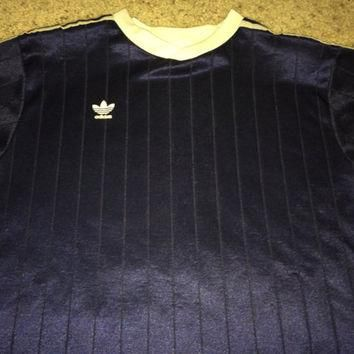Sale!! Vintage 1980s ADIDAS Polyester navy Activewear Shirt Soccer Jersey Football Mad