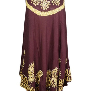 Maroon Batik Paisley Embroidered Tank Dress Sleeveless Flare Beach Wear Bikini Cover Up Dress S