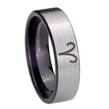 8MM Silver Black Aries Zodiac Pipe Cut Tungsten Carbide Laser Engraved Ring