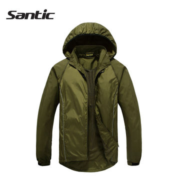 Free Shipping Men Santic Cycling Detachable Raincoat Windproof Jacket Spring Autumn Light Green Men Bike Sports Clothing MC07011