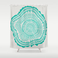 Turquoise Tree Rings Shower Curtain by Cat Coquillette