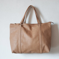 Leather Tote Bag, Tan Leather Tote Bag, Cowskin Tote Bag, Large Tote Purse,Leather Tote Handbag, Eveyday Bag, Leather Shoulder Bag, Handbag