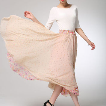 Maxi skirt pink chiffon skirt women long skirt  (1268)