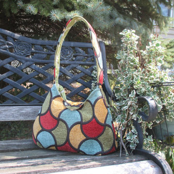 Shoulder Bag In Fall Colors , Red And Black , Gold And Green , Slouchy Shoulder Bag