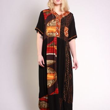Abstract Black Button Down Maxi Dress / M L