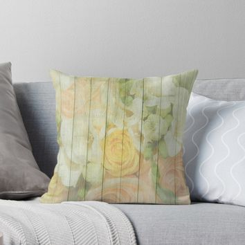 'Shabby Chic Spring Pastel Roses On Wood Background' Throw Pillow by ThatsMyStyle
