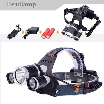 2016 New LED T6 Headlamp Cree T6 6000lm Rechargeable 18650 battery Headlight For Bike Camping Lighting streets Fishing Light
