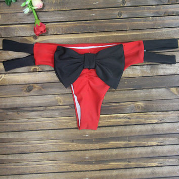Red and Black Bow Tie Strappy Bottom