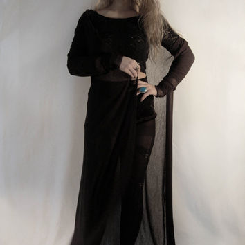 long black witchy cardigan // mesh // duster cardigan// floor length // torn hem