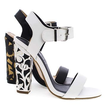 Vintage By Shoe Republic, Open Toe Sandal w Floral Pattern Wrapped On Chunky High Heel