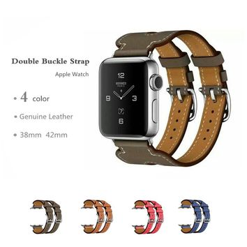 CRESTED Genuine Leather double buckle cuff band For Apple Watch  42 mm/38 bracelet Leather Strap watchband men smart watch strap