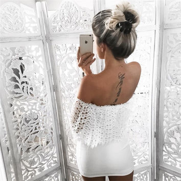 ≫∙∙Summer Style Elegant Off Shoulder White Lace Bodycon Evening Party Mini Dress   ∙∙≪