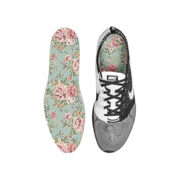 Floral Blue Custom Insoles