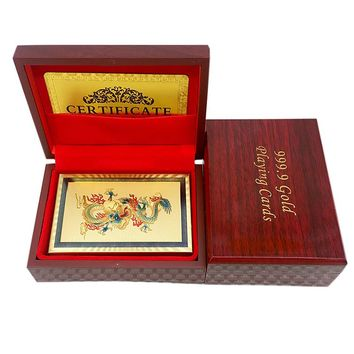 Gold Foil Plated Playing Cards Chinese Style Dragon And Phoenix With Wood Box
