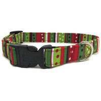 Christmas Dog Collar, Striped Dog Collar, Holiday Dog Collar, Small Dog Collar, Red dog Collar, Green Dog Collar, Dotted Dog Collar