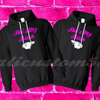 "2 matching ""she is my bitch"" hoodies"