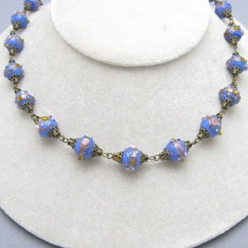 Vintage Wedding Cake Bead Necklace Blue Jewelry N7138