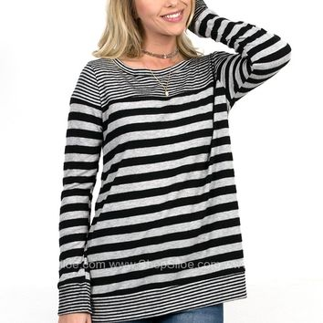 Jessi Striped Charcoal Top