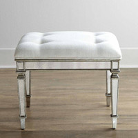 Ivory Mirrored Vanity Stool