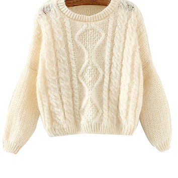 Beige Cropped Knitted Sweater
