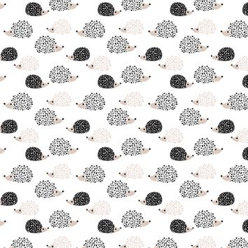 Scandinavian sweet hedgehog illustration for kids gender neutral black and white fabric - littlesmilemakers - Spoonflower