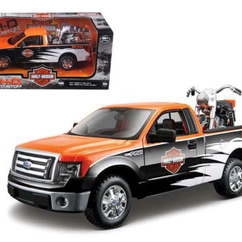 2010 Ford F-150 STX Harley Davidson Orange-White-Black 1-27 and 1-24 1958 FLH Duo Glide Motorcycle by Maisto