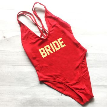 New Print Letter BRIDE Wedding Party Summer Sexy Cross Back Bathing Suit One Piece Swimwear For Female High Quality Beach Wear