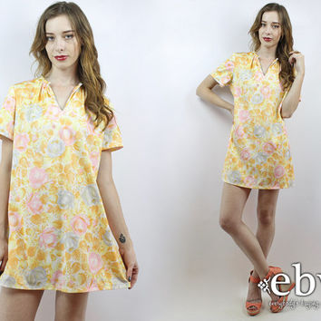 Vintage 70s Yellow Floral Tent Dress S M L Summer Dress Yellow Dress Floral Mini Dress Floral Dress 1970s Dress 70s Dress Hippie Dress
