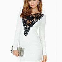 White Floral Lace Embroidery Patchwork with Back Keyhole Bodycon Mini Dress