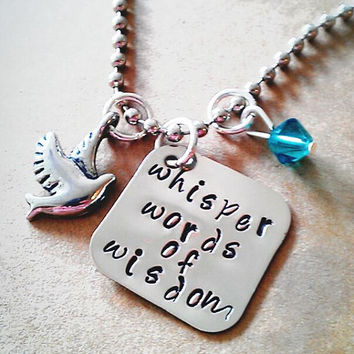 """Hand Stamped """"Whisper Words of Wisdom"""" Necklace"""