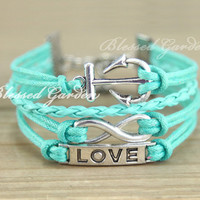 bracelet, anchor bracelet, infinity bracelet,mint green bracelet, mint green, anchor ,infinity,  love bracelet, bridesmaid, friendship gift