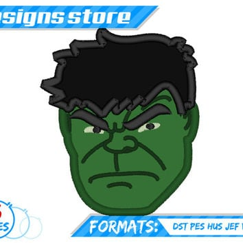Hulk Face Applique Embroidery Design