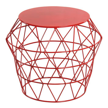 Red Metal Drum Stool   Overstock.com Shopping - The Best Deals on Coffee, Sofa & End Tables
